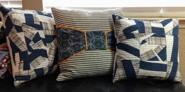 Improv pillows from vintage shirts and mattress ticking