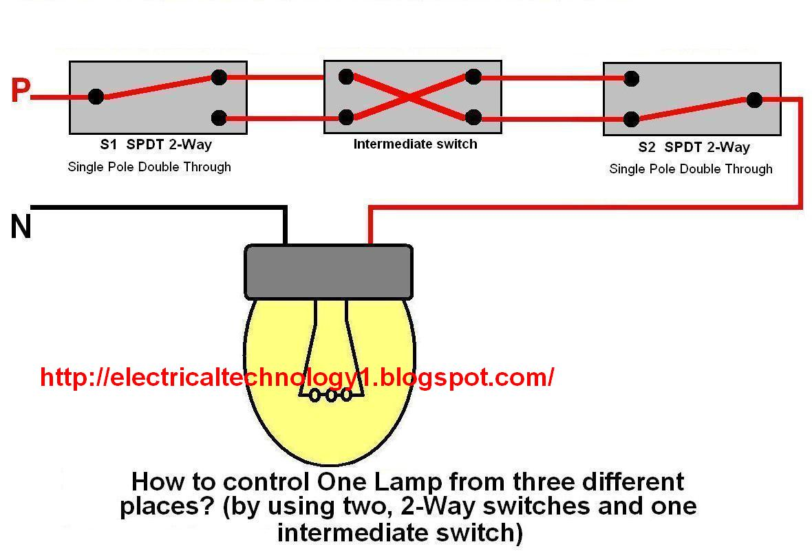 Light Wiring Diagram 2 Way Switch Auto Amplifier How To Control One Lamp From Three Different