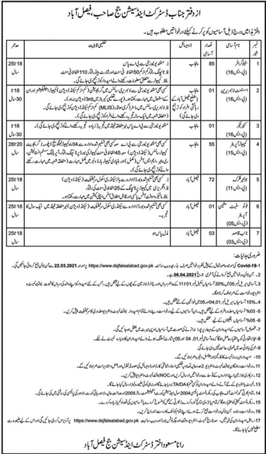 District & Sessions Judge Office Jobs 2021 in Faisalabad