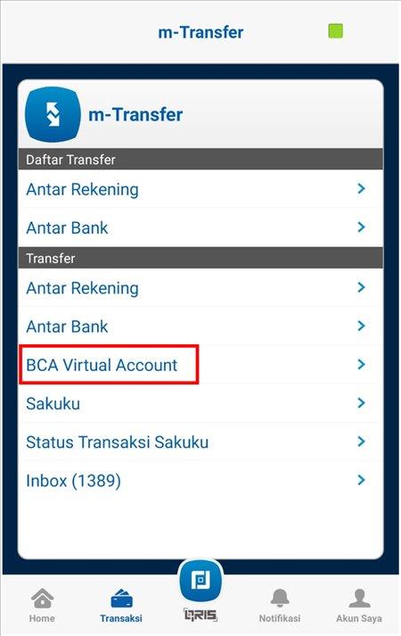 cara transfer ke virtual account bca 2