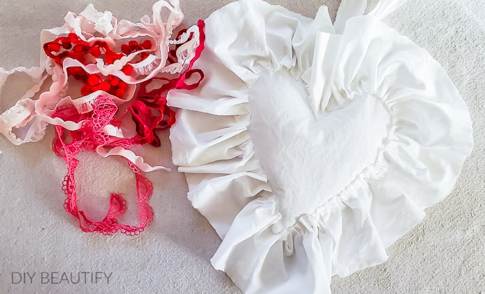 white cotton heart with trim options