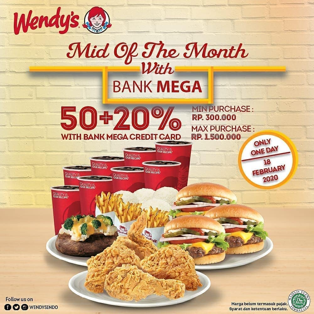 Wendys Promo Mid Of The Month With Bank Mega Diskon 50 20 Hari Ini Scanharga