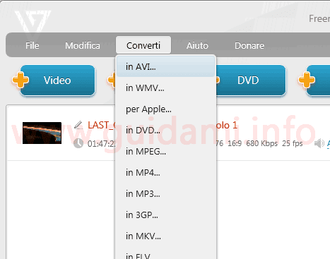 Freemake Video Converter menu scelta formato conversione