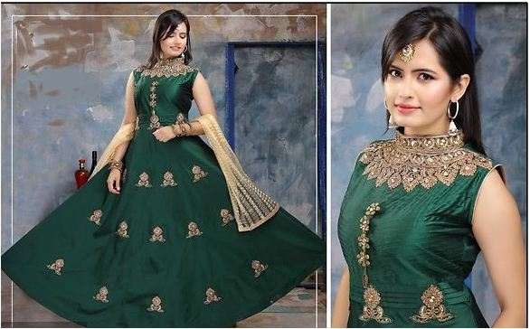 Lovely Stitched Art Silk Gowns For Inverted Triangle Body Shape