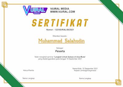 Download Contoh Template Sertifikat Seminar Versi 1
