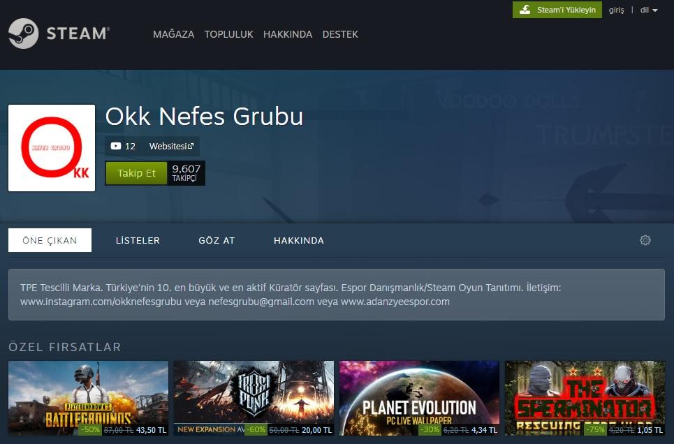 Steam Okk Nefes Grubu Küratör Sayfası