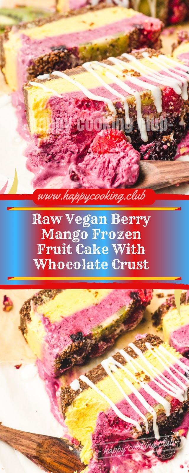 Raw Vegan Berry Mango Frozen Fruit Cake With Whocolate Crust