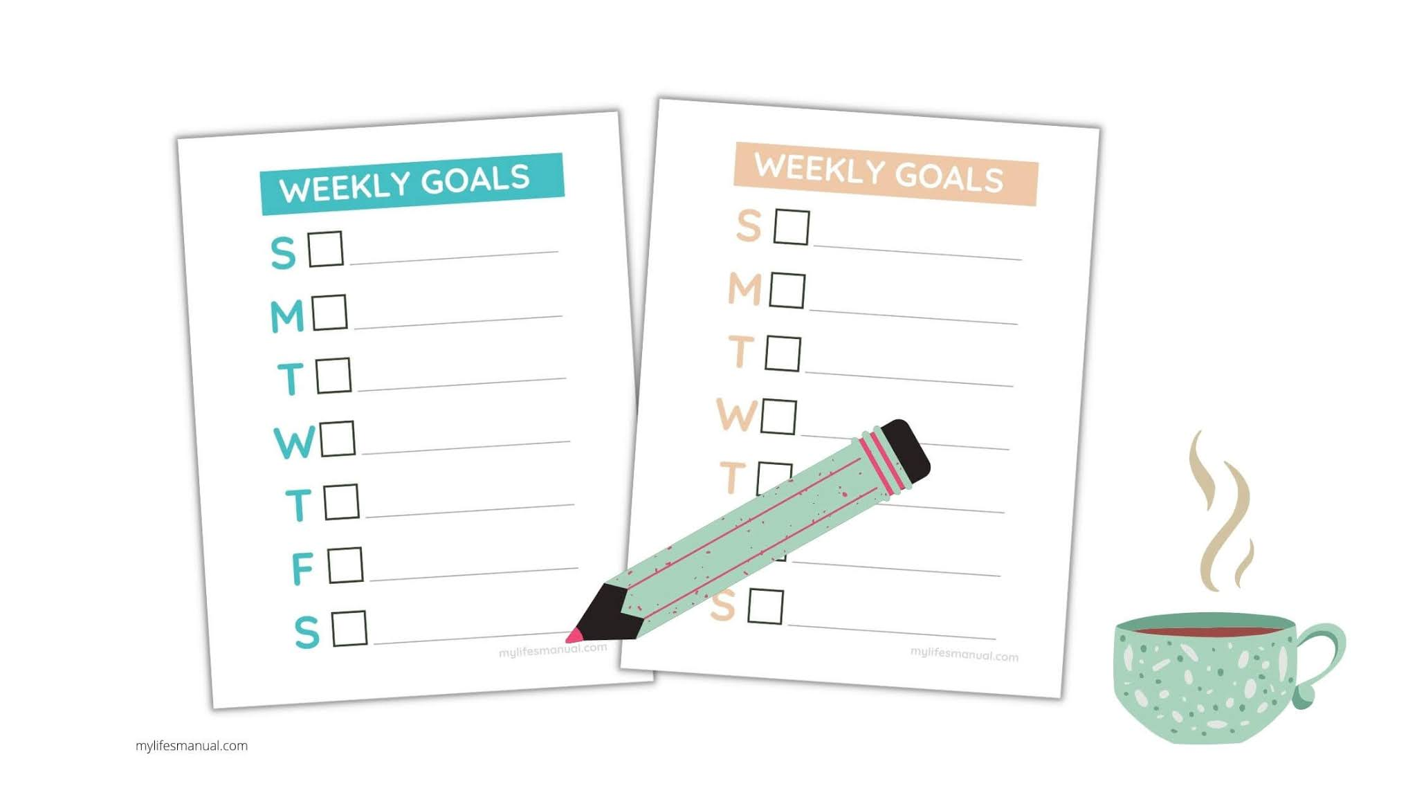 Weekly goal planner printables
