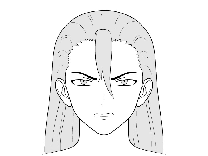 Pria penjahat anime menggambar wajah marah