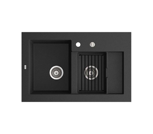 Chiuveta de bucatarie, culoare neagra, din granit compozit 1,5 cuve, dreptunghiulara, design lux