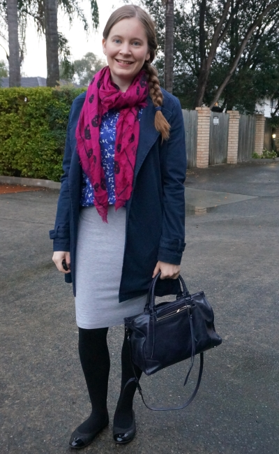 navy macintosh, grey pencil skirt, printed shirt and alexander mcqueen skulls scarf winter business casual outfit | away from blue