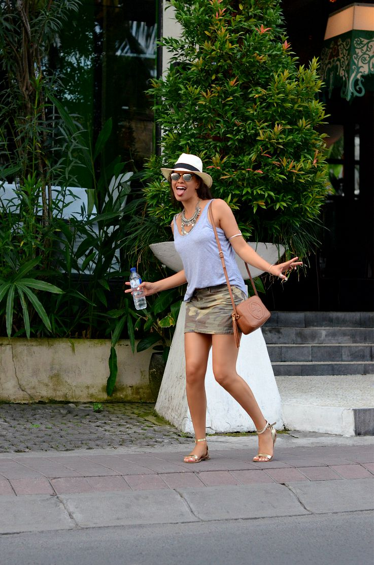 Seminyak, Bali, Indonesia, Gucci Soho Disco bag, Coin necklace, Panama hat, Rayban Club Master, Camo skirt, Zara sandals