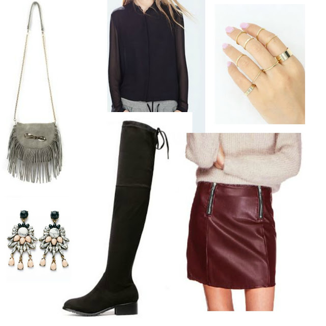 burgundy mini, black top, OTK boots
