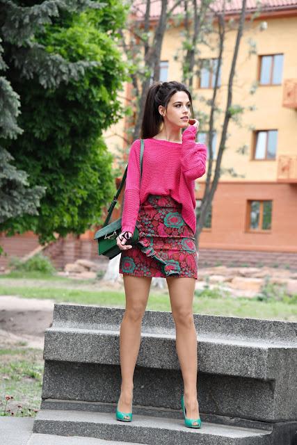 Фуксия, юбка с рюшами