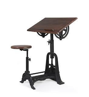 mesa escritorio con banco rustico industrial