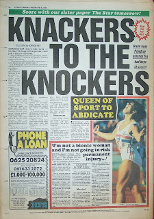 Old Sunday Sport newspaper back cover page from 6th September 1987
