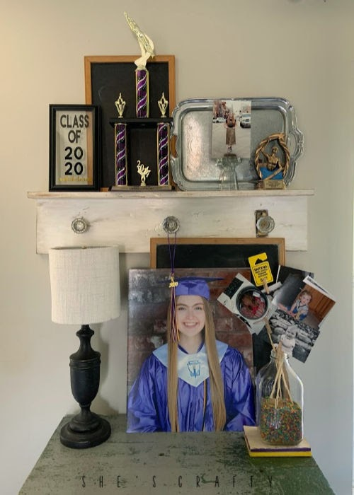 Graduation display at home - celebrate your graduate with a display of photos and awards in your home