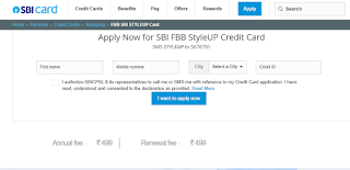 Fbb SBI STYLEUP Card, How to Apply SBI Credit Card Online