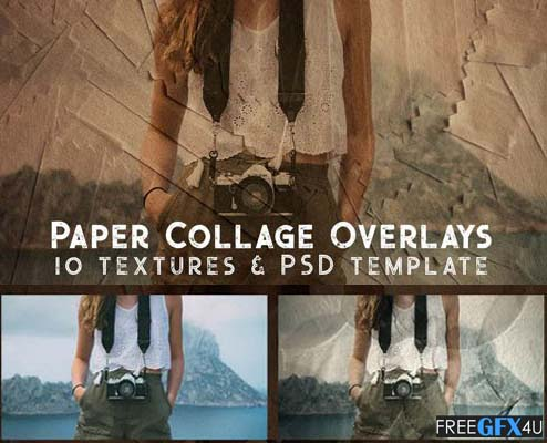 Paper Collage Overlays Photoshop Templates