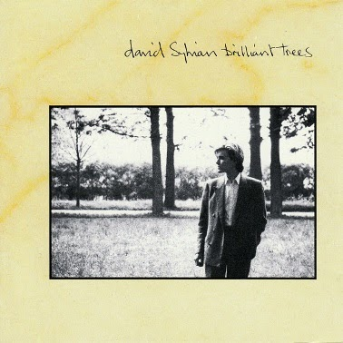 photo of David Sylvian in suit in park with trees in the background