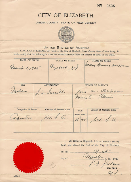 Birth record for Wallace Bernard Dixon, born 2 March 1905 in Elizabeth, NJ.