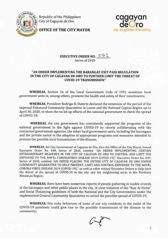 CDO Emplements Executive Order no. 062 - Barangay Exit Pass Regulation in all Barangays in the City