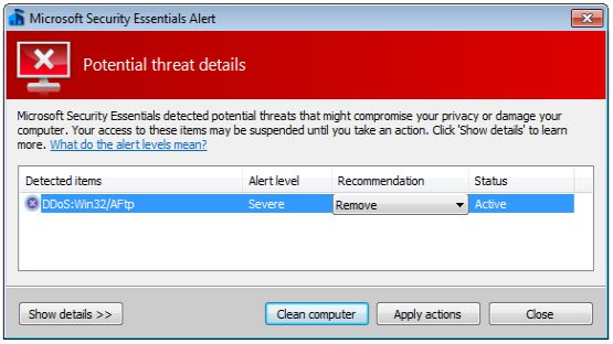Microsoft security essentials screenshot 1