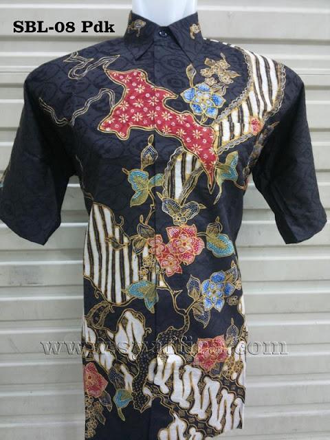 47 Batik Tulis Sutra Pria Lengan Pendek size L  #1