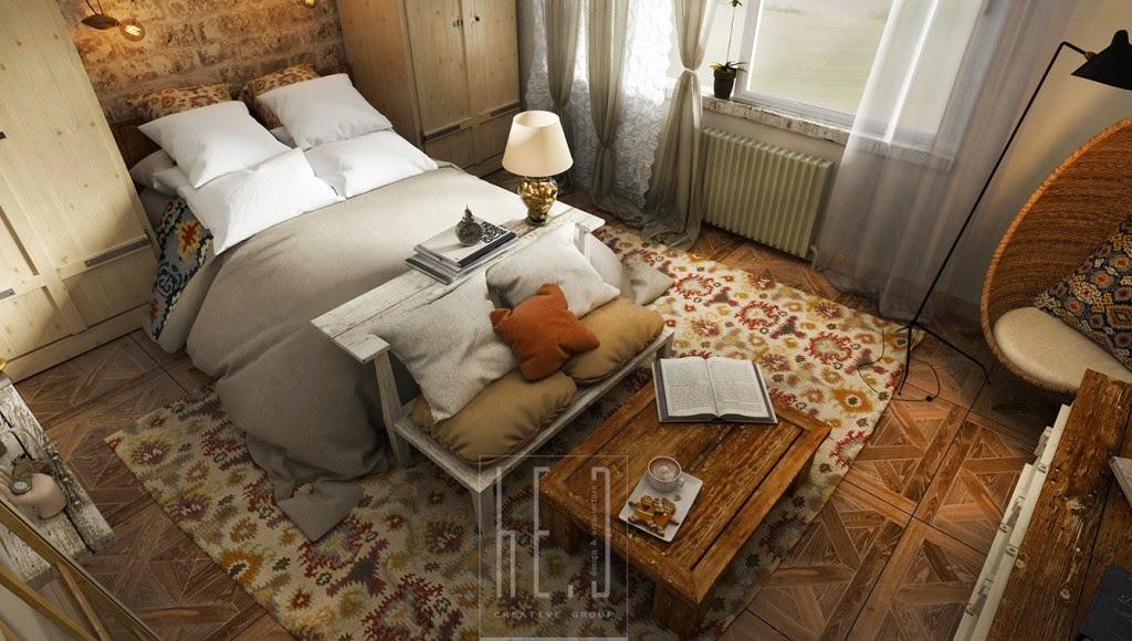 Dormitorio rustico ladrillos y madera for Dormitorios matrimoniales rusticos