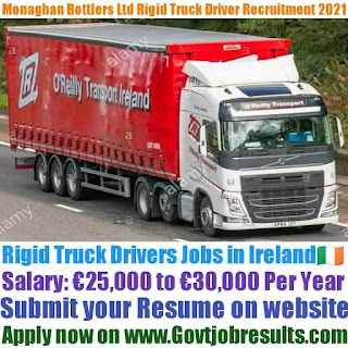 Monaghan Bottlers Ltd Rigid Truck Driver Recruitment 2021-22