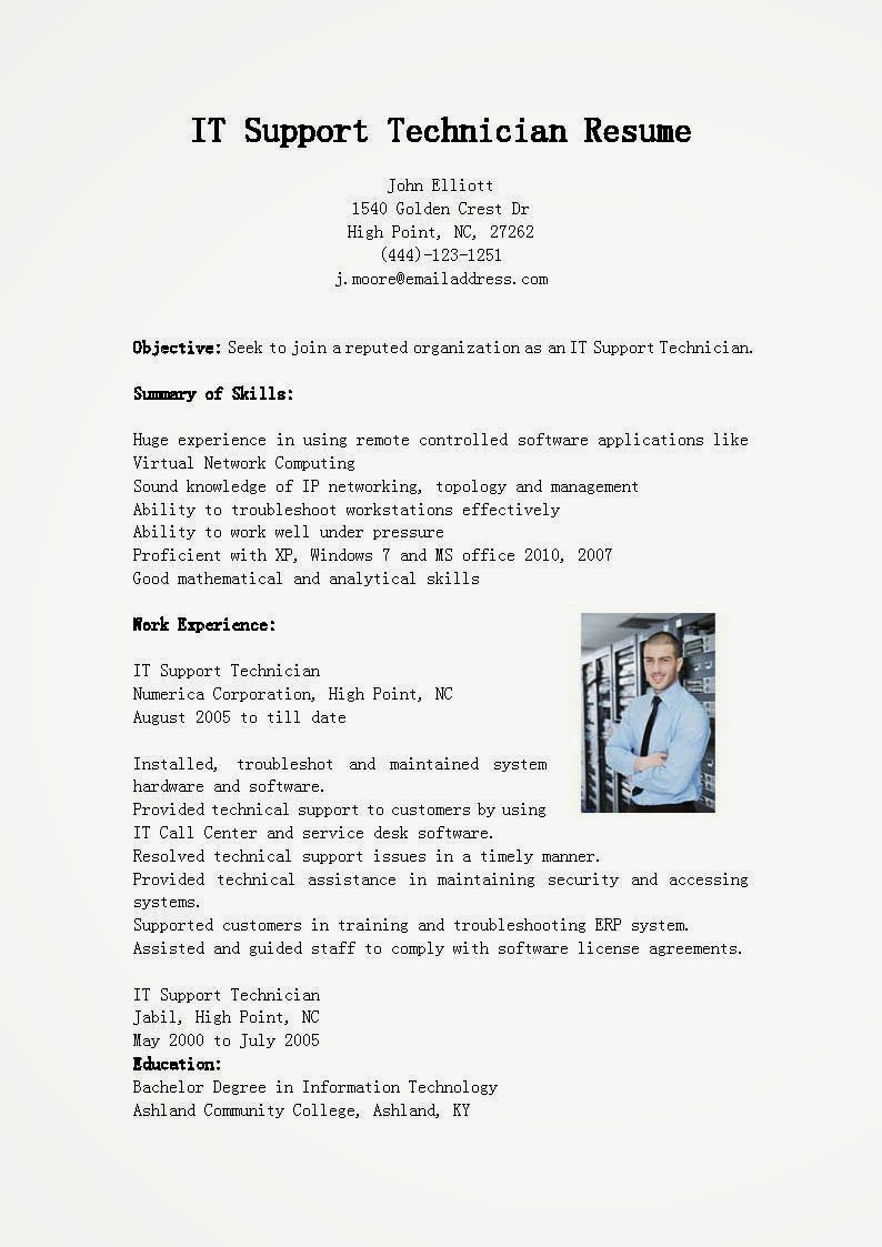 Resume Templates Resume Samples It Support Technician Resume Sample