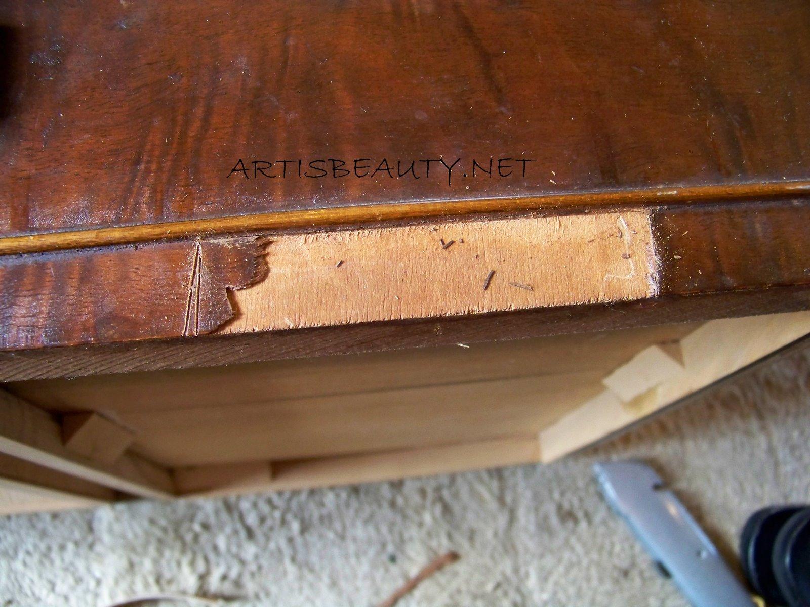 Painting wood veneer furniture for Repair wood veneer exterior door