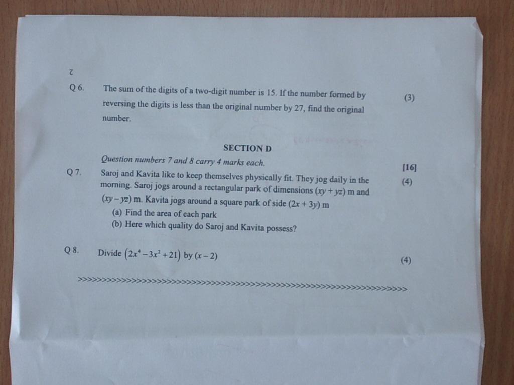 Maths8 Revision Worksheet Paper