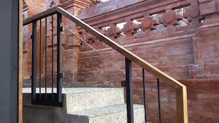 railling tangga stik as plus kaca,handle kayu