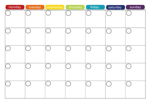 printable monthly menu calendar template