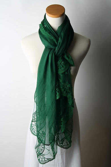 Green Chiffon Scarf with Lace