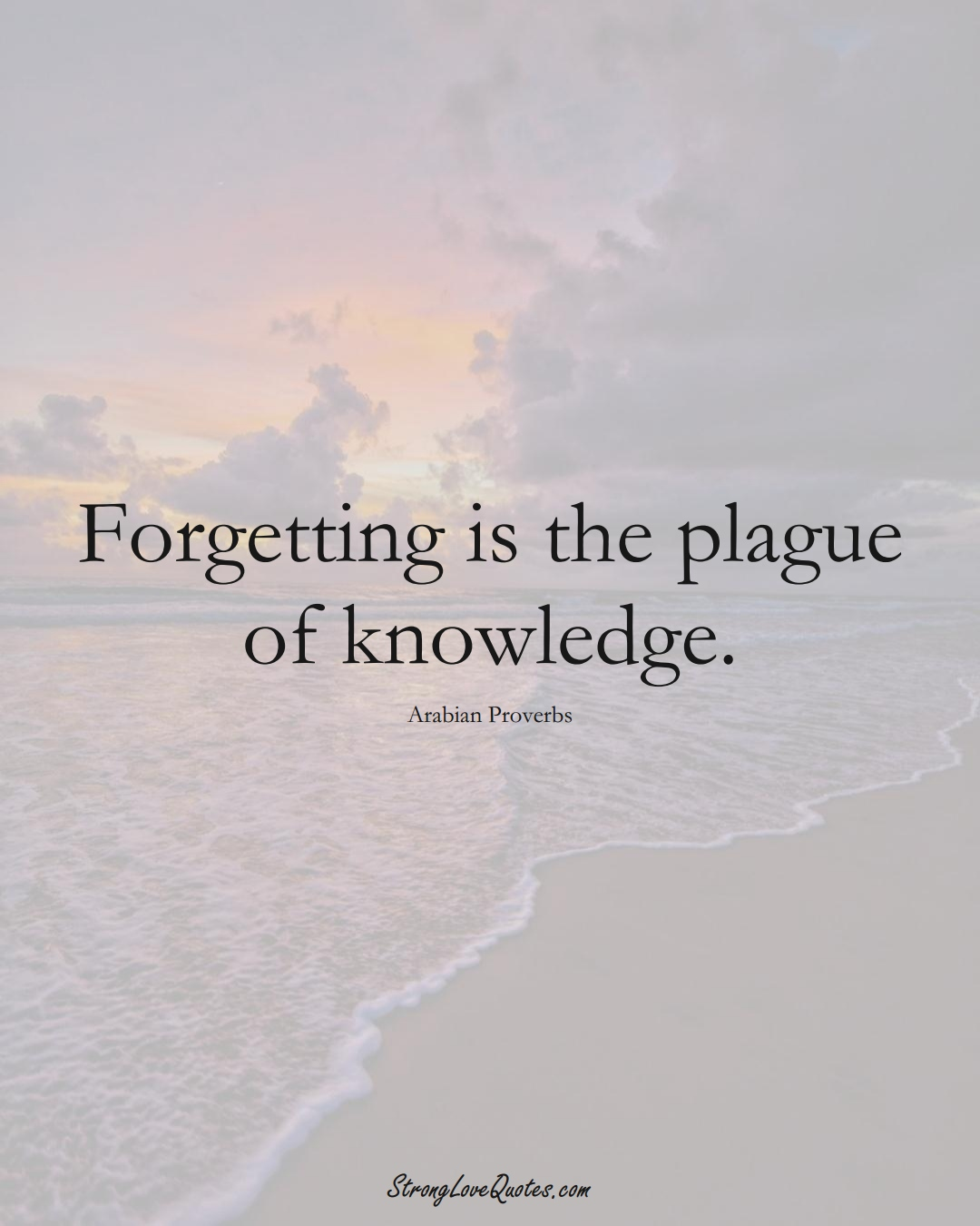Forgetting is the plague of knowledge. (Arabian Sayings);  #aVarietyofCulturesSayings