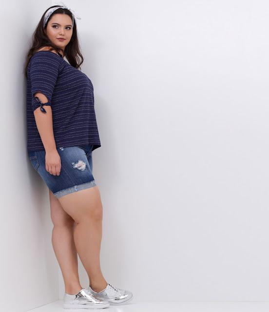 Blusa Listrada Curve & Plus Size
