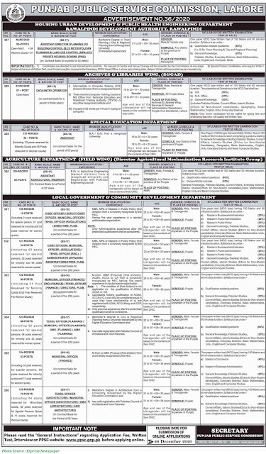PPSC-Jobs-2020-Latest-Jobs-in-Punjab-Public-Service-Commission-December-2020-Advertisement-No-36-2020-Apply-Online-www.ppsc.gop.pk