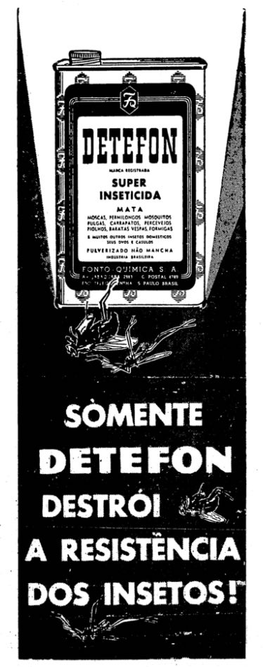 Propaganda antiga que apresentava o inseticida Detefon em 1956