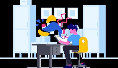 Illustration cartoon of guy drawing on computer screen