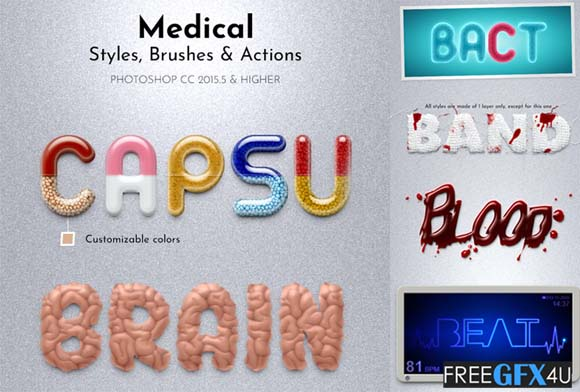 Medical Styles Photoshop Brushes and Actions