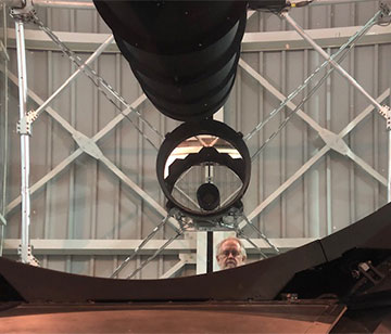 Resident Astronomer George takes a selfie with the help of the 3.5-meter mirror (Source: Palmia Observatory)