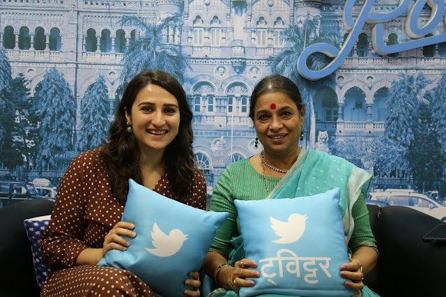 Mahima Kaul, Head of Public Policy Twitter India + Dr. Ranajana Kumari, Drirector Centre For Social Research at the launch of _TweeSurfin