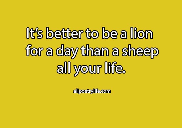 It's better to be a lion | English poetry on life poems sad quotes