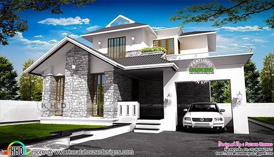 1841 square feet sloping roof style contemporary Kerala home
