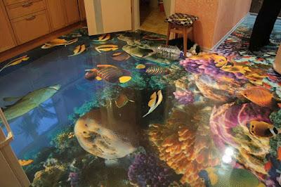 Decoración de baño como el fondo del oceano