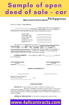 deed of sale of motor vehicle contract