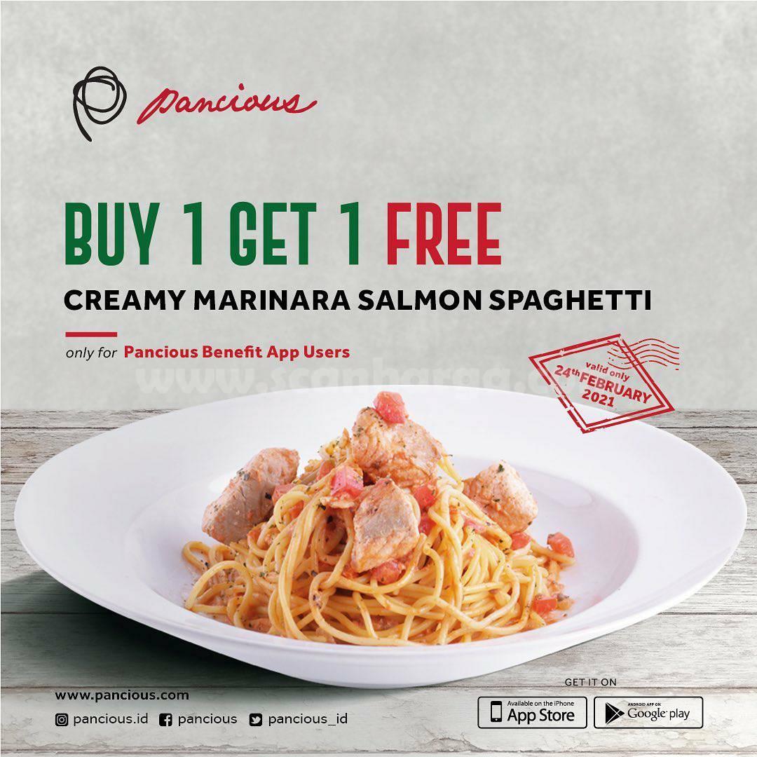 PANCIOUS Creamy Marinara Salmon Spaghetti! Promo Beli 1 GRATIS 1