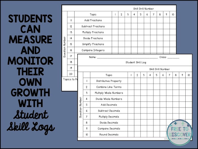 students measure and monitor their own growth with student skill logs